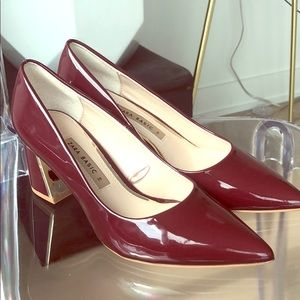Red wine patent block heels